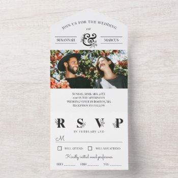 black white floral ampersand photo wedding  all in one invitation