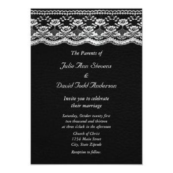 black & white leather & lace wedding invitation