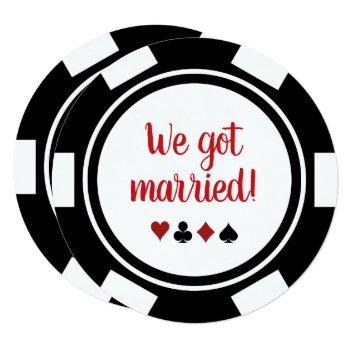 black white poker chip wedding elopement announce invitation