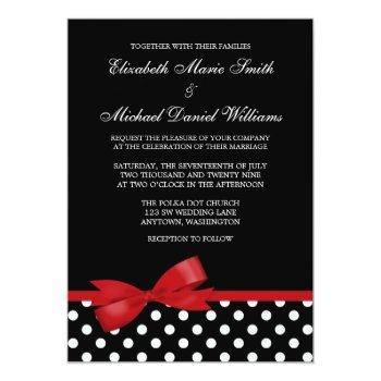 black white polka dot red faux bow wedding invitation