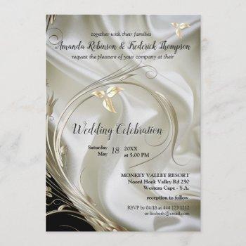 black with silver & gold on champagne silk wedding invitation