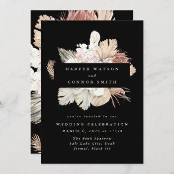 black wreath pampas grass floral jungle wedding invitation