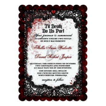 blood splatterd til death wedding reception info invitation