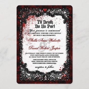 blood splattered halloween wedding reception info invitation
