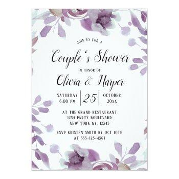 Small Blooming Amethyst Floral Couple's Wedding Shower Invitation Front View
