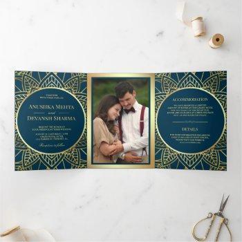 blue and gold ethnic mandala indian wedding tri-fold invitation