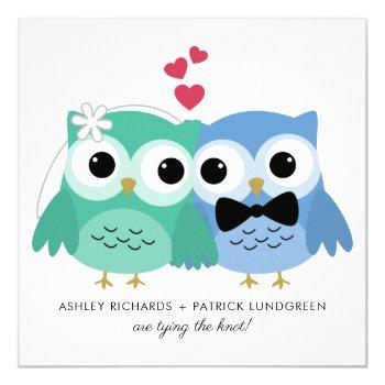 blue and green | cute owl bride and groom wedding invitation