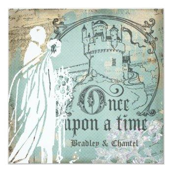 blue and ivory once upon a time invitation