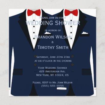 blue and white gay wedding shower invitations