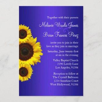 blue and yellow sunflower wedding invitation