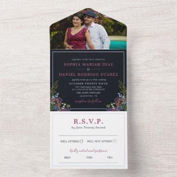 blue burgundy olive leaves photo wedding all in one invitation