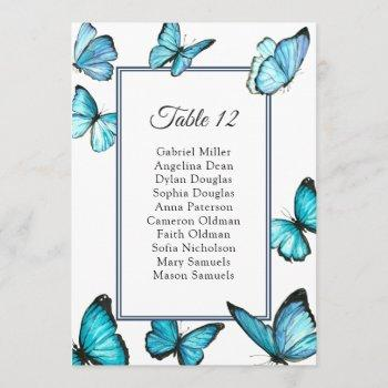 blue butterflies. simple wedding seating chart invitation