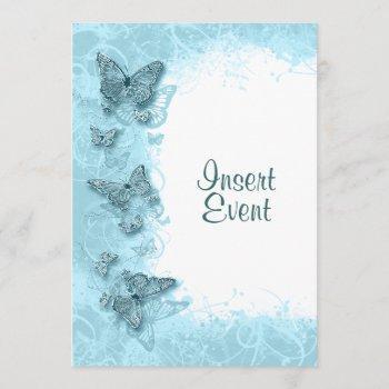 blue butterfly elegant birthday wedding invitation