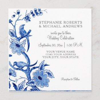 blue chinoiserie asian china floral watercolor invitation