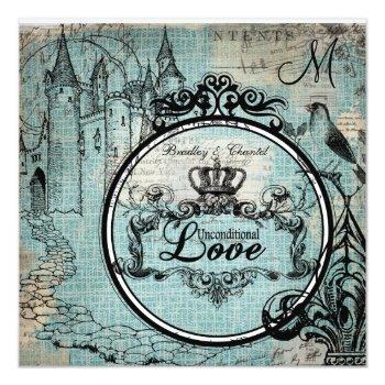 blue criss cross unconditional love wedding invite