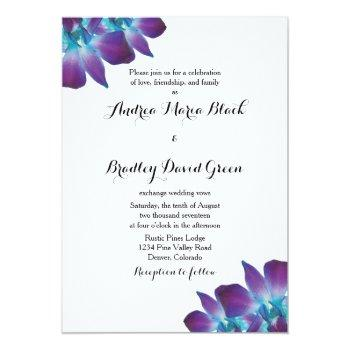 Small Blue Dendrobium Orchid Wedding Invitation Front View