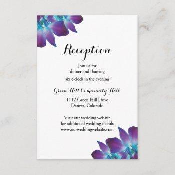 blue dendrobium orchid wedding reception card
