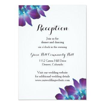 Small Blue Dendrobium Orchid Wedding Reception Card Front View