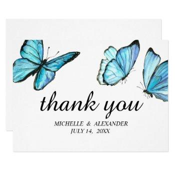 blue elegant watercolor butterflies thank you invitation