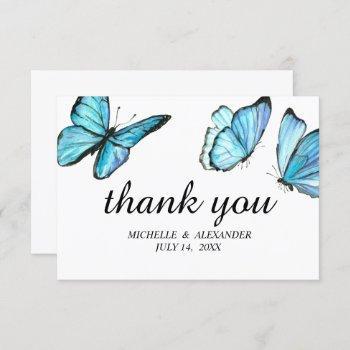 blue elegant watercolor butterflies thank you invitation