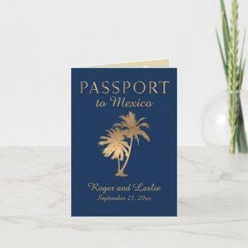 blue faux gold foil cancun mexico wedding passport invitation