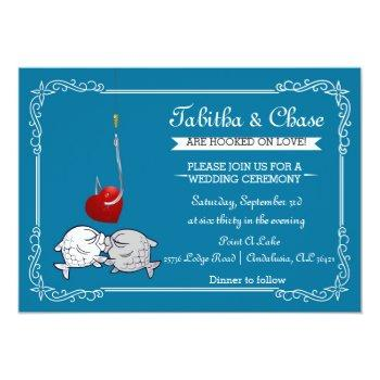 Small Blue Fishing Wedding Invitation Front View