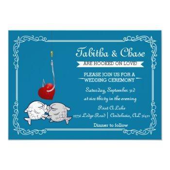 blue fishing wedding invitation