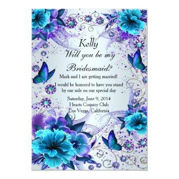 blue floral and butterfly bridesmaid card