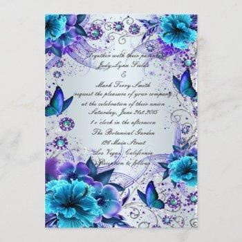 blue floral and butterfly invitation