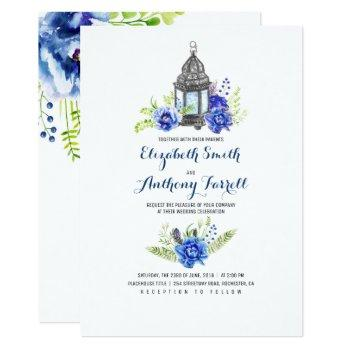 blue flowers vintage lantern watercolor wedding invitation