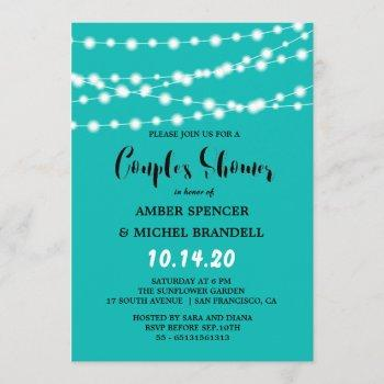 blue glowing string light couple's shower invitation
