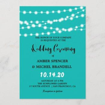 blue glowing string lights wedding invites