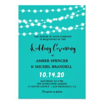 blue glowing string lights wedding invites