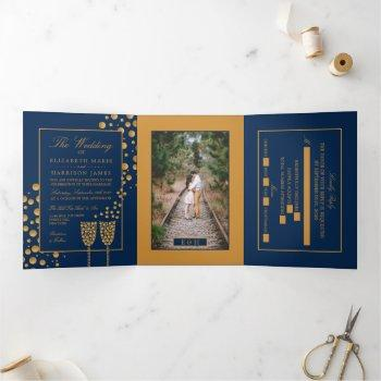 blue & gold champagne bubbles, wedding suite tri-fold invitation