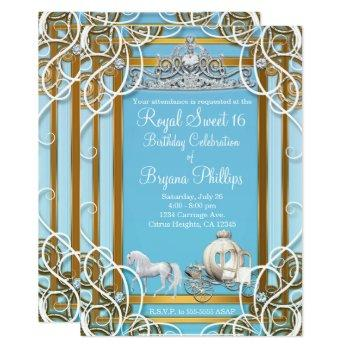 blue gold princess crown & carriage sweet 16 party invitation