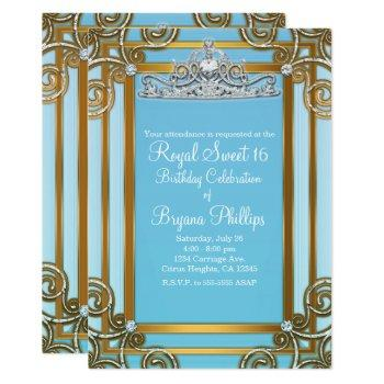 blue & gold princess crown tiara sweet 16 party invitation