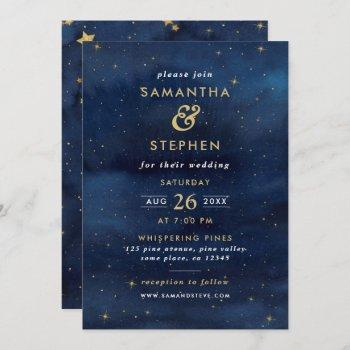blue & gold watercolor starry night sky wedding invitation