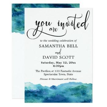 blue green aqua watercolor modern wedding 2b invitation