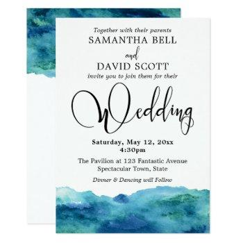 blue green aqua watercolor modern wedding 3b invitation