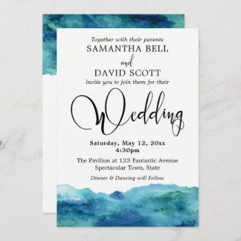 blue green aqua watercolor modern wedding 3b invitation