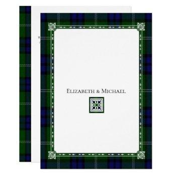 blue & green plaid,tartan wedding invitation