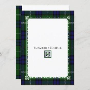 blue & green plaid,tartan wedding invitation