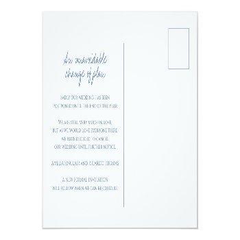 Small Blue Hand Drawn Leaf Monogram Wedding Cancelation Announcement Postcard Back View