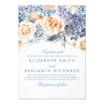 blue hydrangea and peach flowers - floral wedding invitation