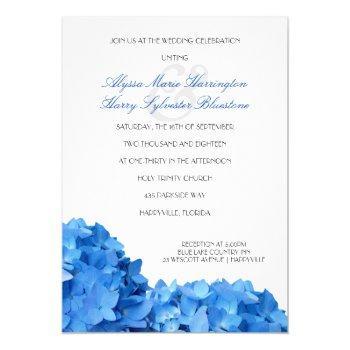 blue hydrangea border printed wedding invitation