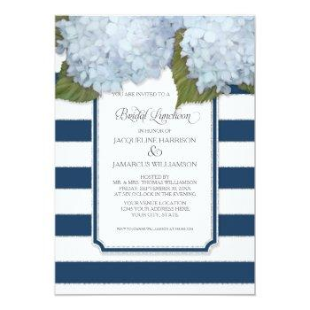 blue hydrangea bridal luncheon navy stripe modern invitation