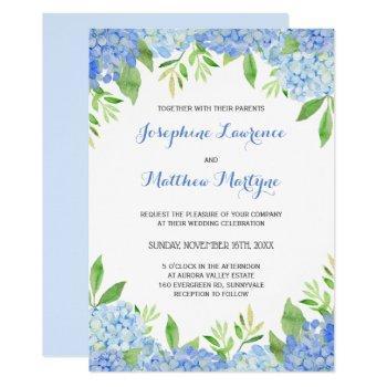 blue hydrangea floral greenery wedding invitation