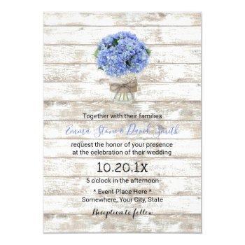 blue hydrangea floral jar rustic wood wedding invitation