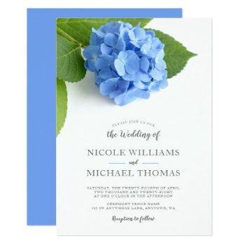 blue hydrangea floral wedding invitations