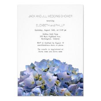 blue hydrangea jack and jill wedding shower invitation